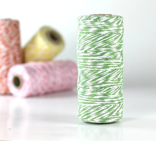 Provázek Bakers Twine:Zelená/bílá -5metrů