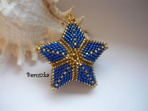 Vánoční hvězda 3D - modro-zlatá