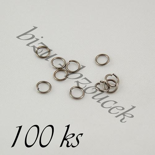 Spojovací kroužky gunmetalové barvy 10mm - 100ks