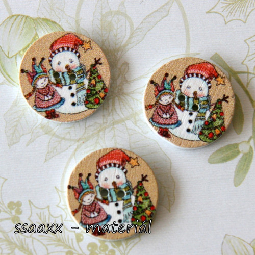Dřevěný knoflík ~ 20 mm ~ vánoční IV