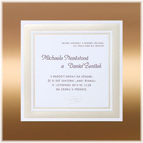 Svatební oznámení s lesklým rámečkem