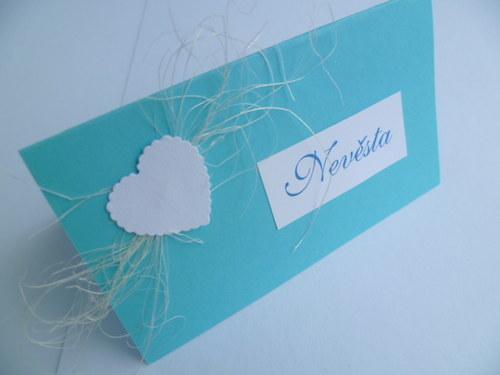jmenovky na svatební stůl tyrkysové