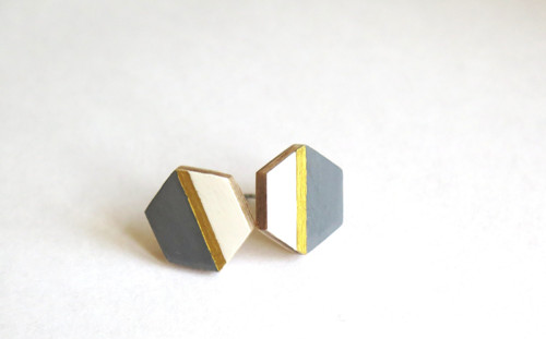 Hexagon šedá/bílá/zlatá