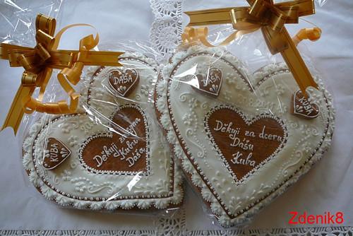 Větší svatební srdce děkovné - balené