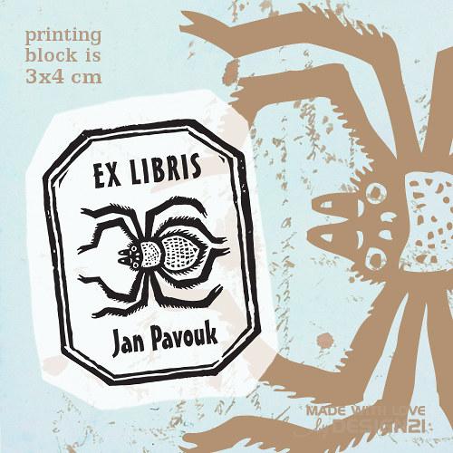 Pavouk v rámečku: razítko 3x4 cm