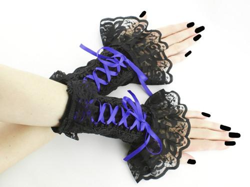 Společenské černo modré bezprsté rukavice 0305