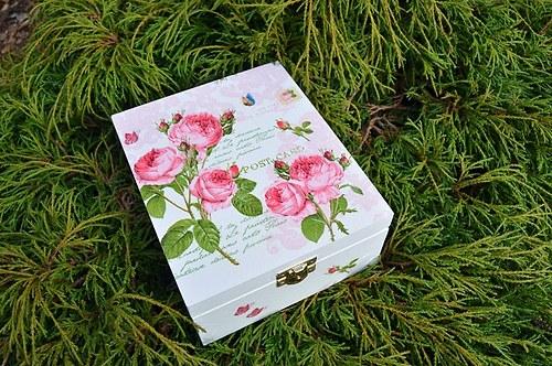 Krabička na čaj - 4 přihrádky - růžičky