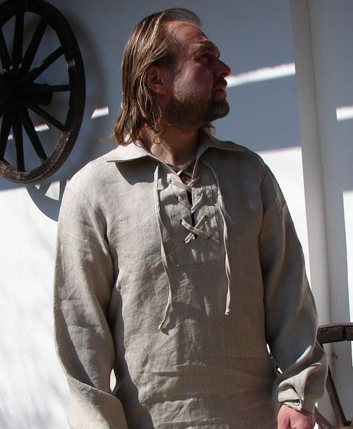 Pánská lněná košile se zajímavými rukávy