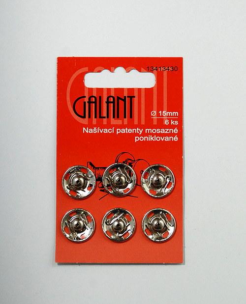 Našívací patenty mosazné 15mm, nikl, 6ks
