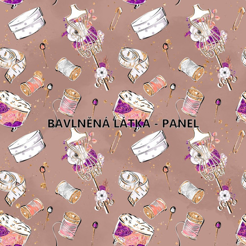 bavlněná látka - panel 16x16 cm KOLEKCE ŠICÍ DÍLNA