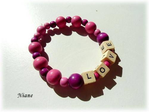 LOVE 1 - dřevěné korálky