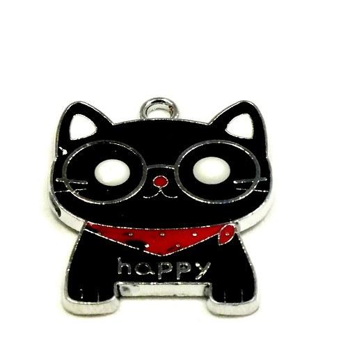 """Přívěsek - ČERNÁ kočka \""""HAPPY\"""",  1 ks"""