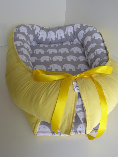Hnízdečko pro miminko sloníci+žlutá