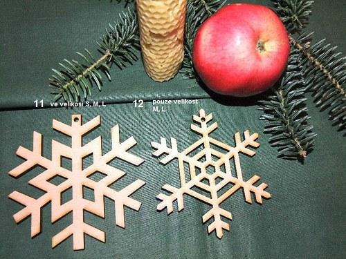 Vánoční dřevěné ozdoby VLOČKY 11 a 12 /velikost M