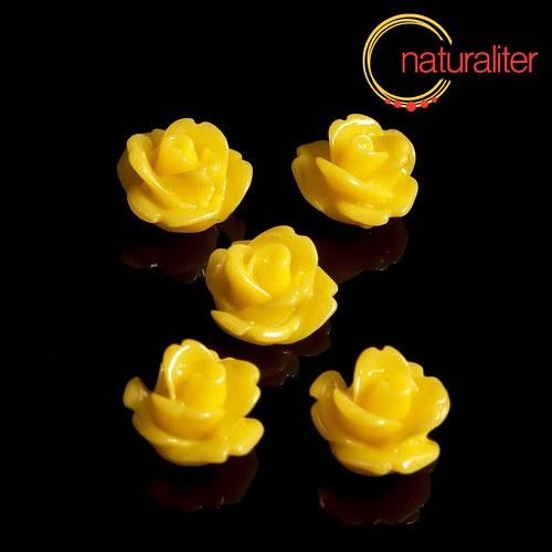Růžička - kabošon z pryskyřice 10mm, žlutá, 10ks