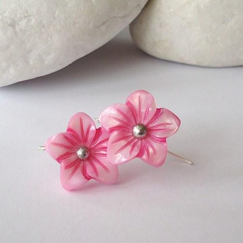Jarní květy - náušnice růžové