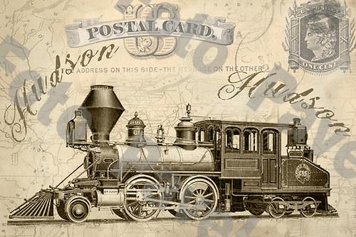 Vintage motiv - parní lokomotiva 11