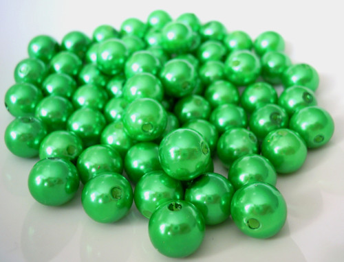 Akrylové perly zelené 10 mm - 20 ks