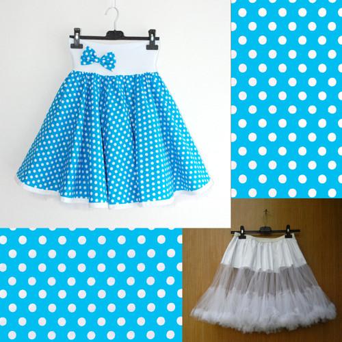 Tyrkysová puntík. sukně+objemnější bílá spodnička