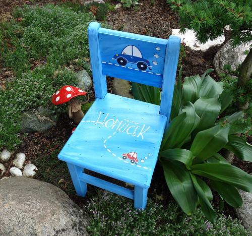 Dětská židlička  - modrá s traboškem