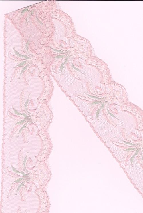 Růžová krajka se zelnými lístky, nepružná