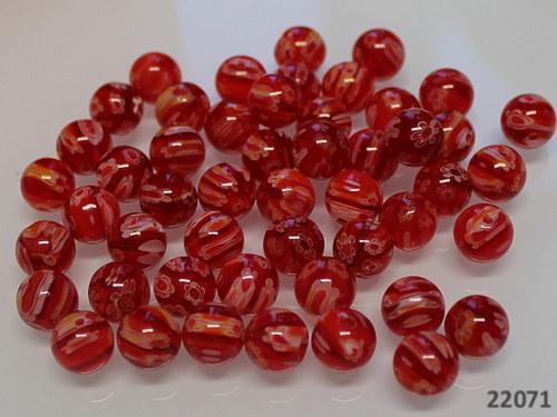 22071 Korálky Millefiori červené 10mm, bal.5ks