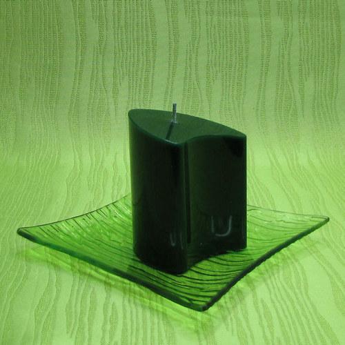 Svíčka dekorativní dvojoblouk zelený - jablko