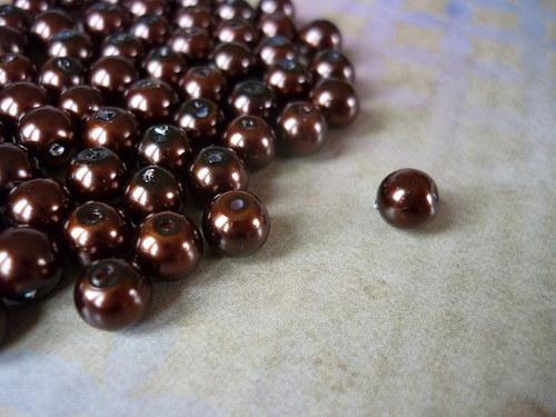 v18 / voskové perly tmavě hnědé / 6mm / 15ks