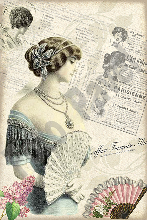 Vintage motiv - dáma s vějířem