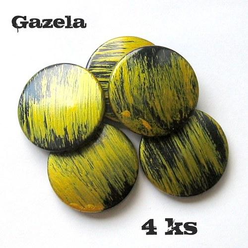 Žíhaná žlutá kolečka - 4 ks