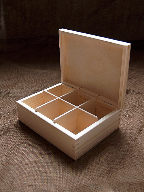 Krabička na čaj 6 komorová BEZ zapínání DL291