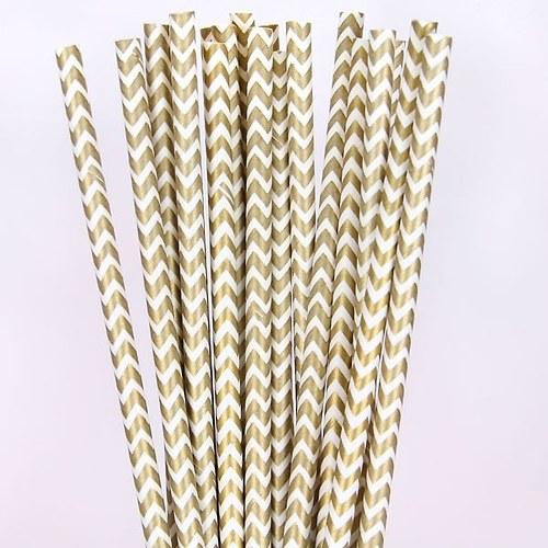 Papírová brčka /10 ks/: Zlatý chevron