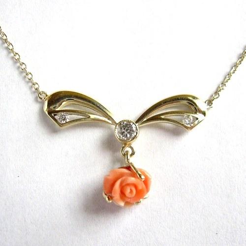 Slezská růžička (náhrdelník, Au 585/1000)