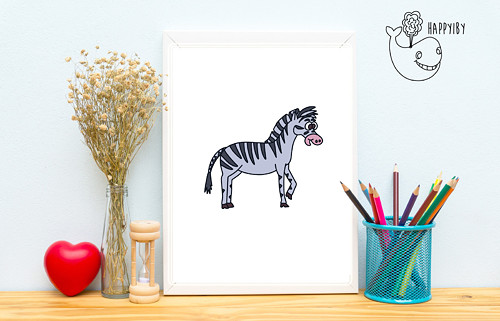 Zebra v barvě (bez stínů)