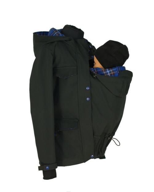 Soft.zimní bunda nosící, černá/modrá kostka