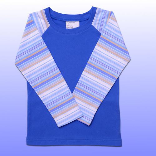 Tričko tmavě modré proužkové v.98