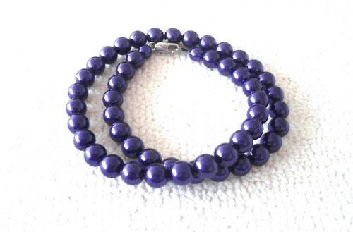 Náhrdelník vosk fialový 10mm