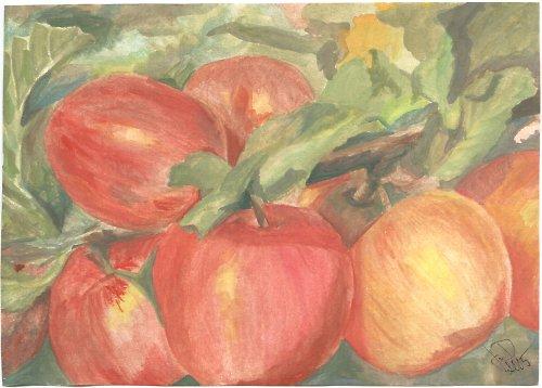 Jablečná záplava - akvarel