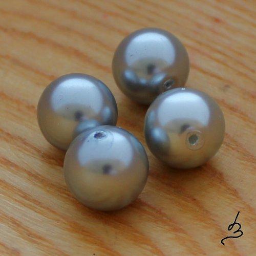 Voskové perle šedé SV 12 mm - 6 ks