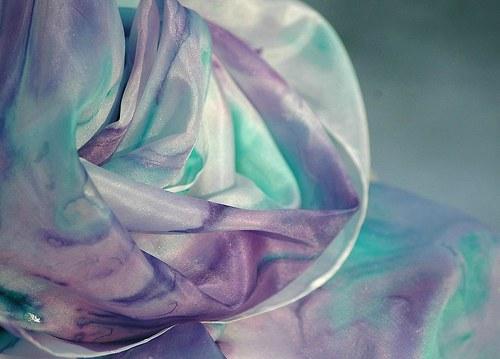 Máta a levandule... pastelová hedvábná šála