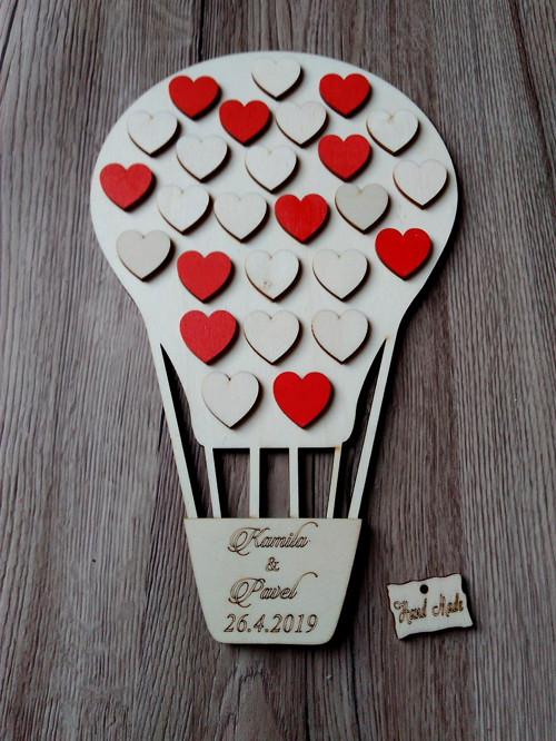 Svatební balón 28x18cm+16přír.srd+10 červ.srd.