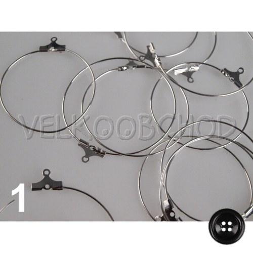 Náušnicové kruhy Kreola pr.30mm (6ks) - platina