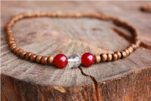 Dřevo, minerály, korálkový na krk pro harmonii