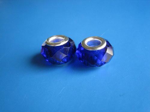 Broušené korálky 2ks se širokým otvorem - tm.modra