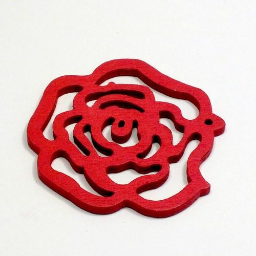 Dřevěný přívěsek - červená růže