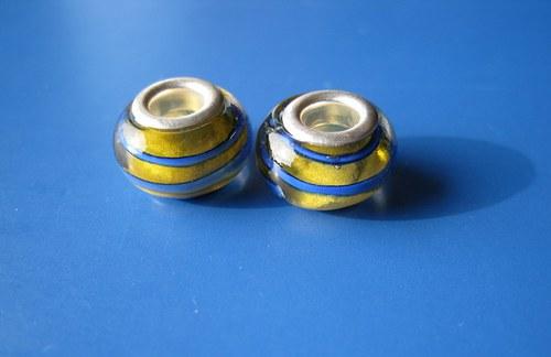 Korálky skleněné - 2 ks - žlutá s modr.proužkem