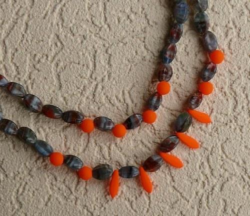 náhrdelník dvouřadý - neonová oranžová s UV fakt.
