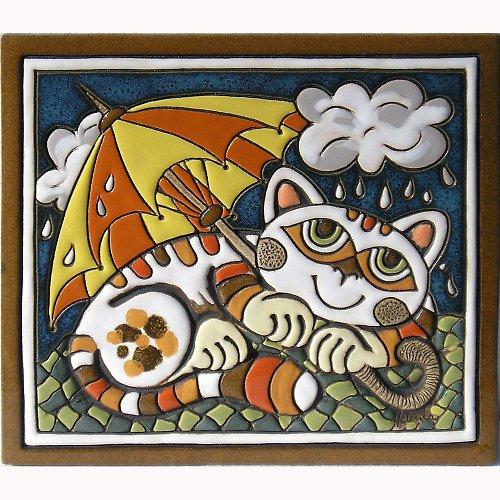 Keramický obrázek - Kočka s deštníkem K-103-ZL-POM