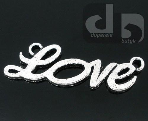 Stříbrný spojovník, přívěšek - Love 2 ks