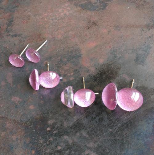 Puzetové náušnice Růžové halogenky